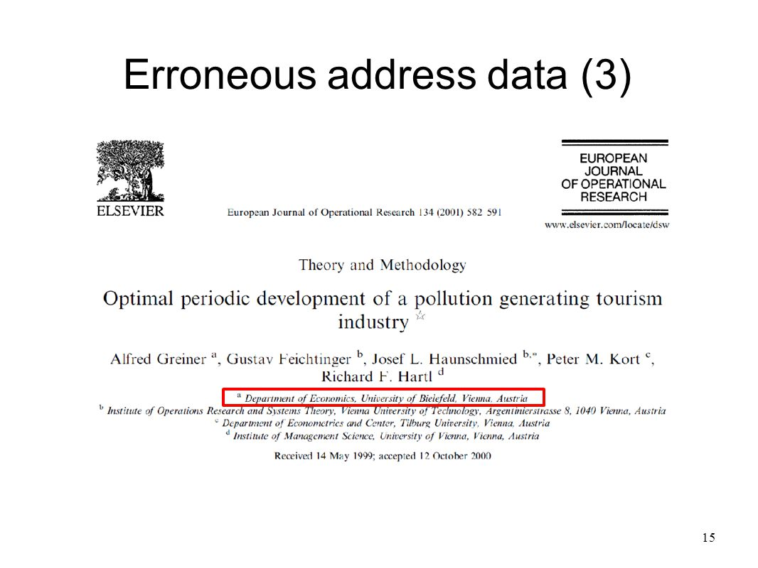 15 Erroneous address data (3)