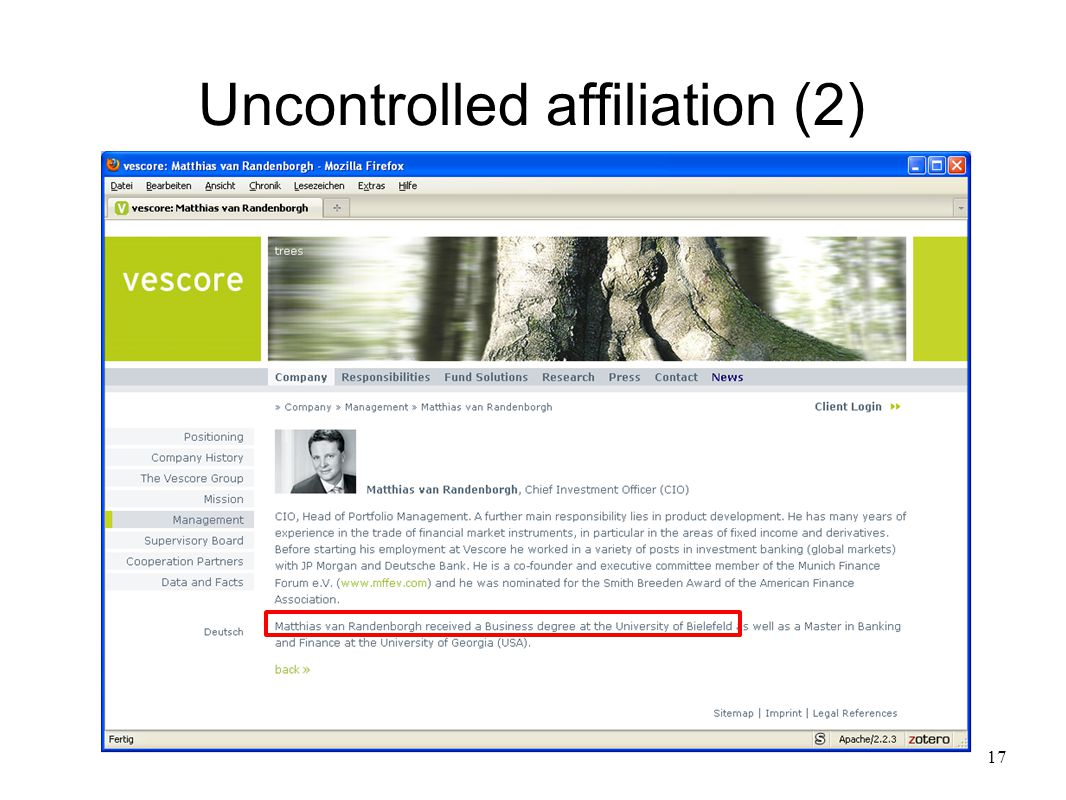 17 Uncontrolled affiliation (2)