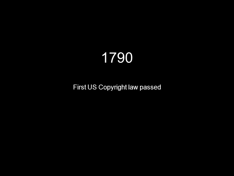 1790 First US Copyright law passed