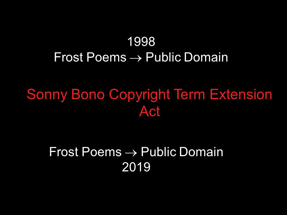 1998 Frost Poems  Public Domain Sonny Bono Copyright Term Extension Act Frost Poems  Public Domain 2019