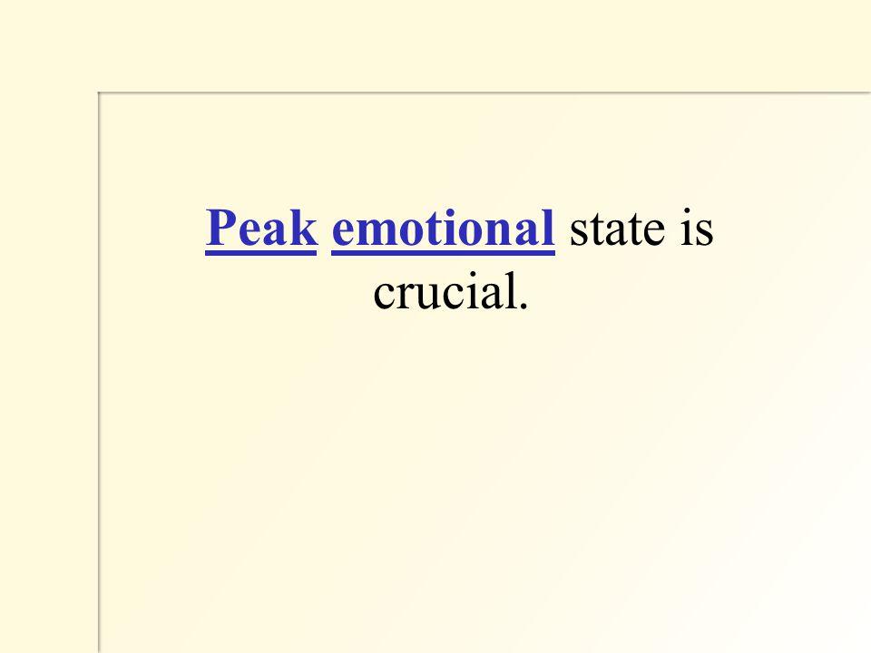 Peak emotional state is crucial.