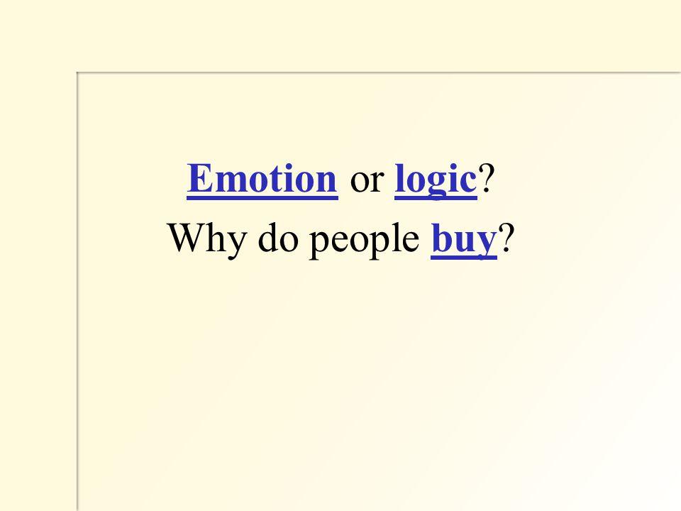 Emotion or logic Why do people buy