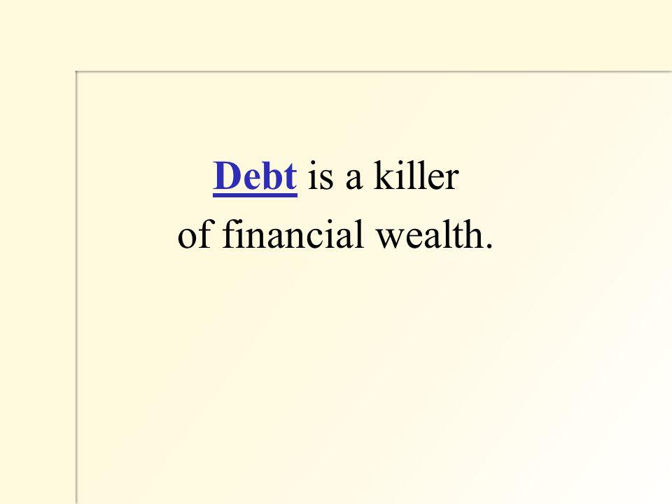 Debt is a killer of financial wealth.