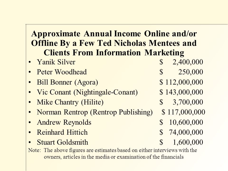 Approximate Annual Income Online and/or Offline By a Few Ted Nicholas Mentees and Clients From Information Marketing Yanik Silver $ 2,400,000 Peter Woodhead $ 250,000 Bill Bonner (Agora) $ 112,000,000 Vic Conant (Nightingale-Conant) $ 143,000,000 Mike Chantry (Hilite) $ 3,700,000 Norman Rentrop (Rentrop Publishing) $ 117,000,000 Andrew Reynolds $ 10,600,000 Reinhard Hittich $ 74,000,000 Stuart Goldsmith $ 1,600,000 Note: The above figures are estimates based on either interviews with the owners, articles in the media or examination of the financials