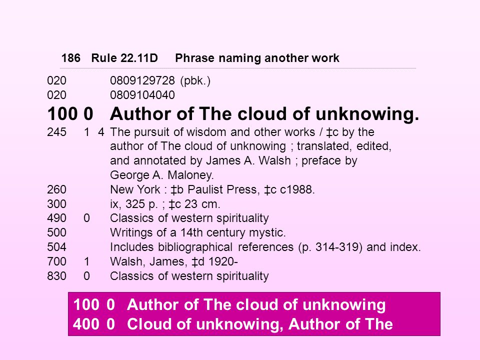 0200809129728 (pbk.) 0200809104040 1000Author of The cloud of unknowing.