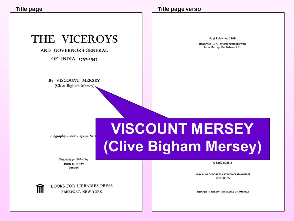 Title pageTitle page verso VISCOUNT MERSEY (Clive Bigham Mersey)