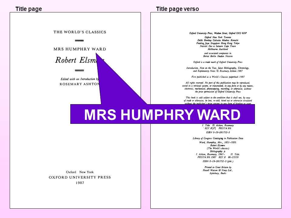 Title pageTitle page verso MRS HUMPHRY WARD