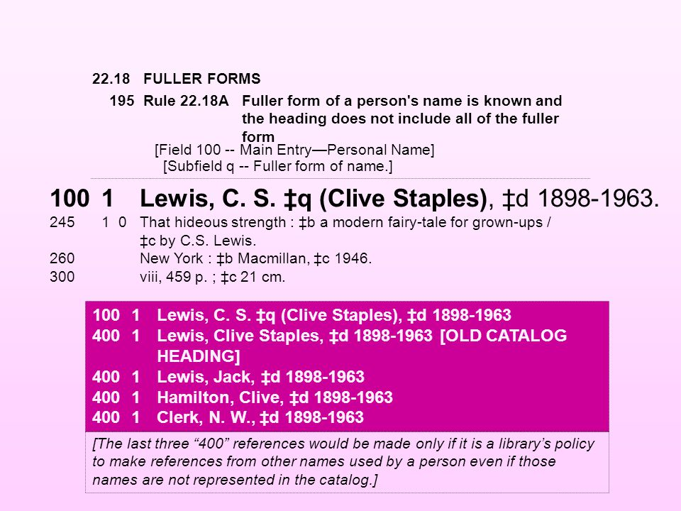 22.18FULLER FORMS 1001Lewis, C. S. ‡q (Clive Staples), ‡d 1898-1963. 24510That hideous strength : ‡b a modern fairy-tale for grown-ups / ‡c by C.S. Le