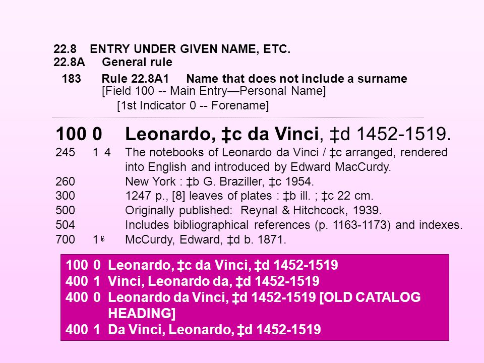 22.8ENTRY UNDER GIVEN NAME, ETC. 22.8AGeneral rule 1000Leonardo, ‡c da Vinci, ‡d 1452-1519.