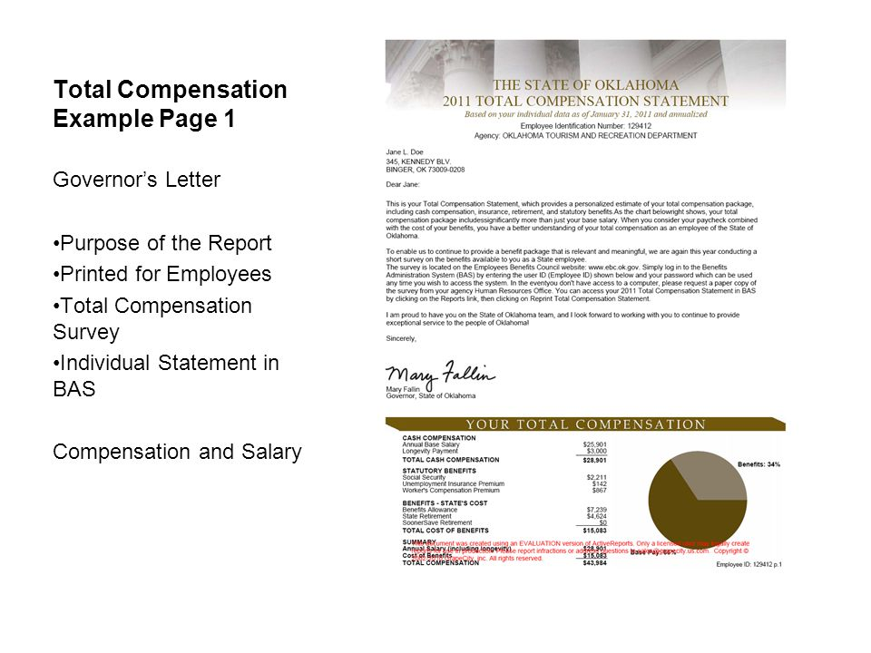Total Compensation Example Page 1 Governor's Letter Purpose of the Report Printed for Employees Total Compensation Survey Individual Statement in BAS