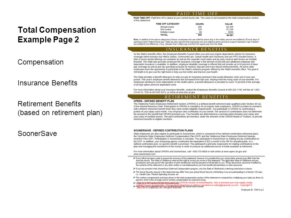 Total Compensation Example Page 2 Compensation Insurance Benefits Retirement Benefits (based on retirement plan) SoonerSave