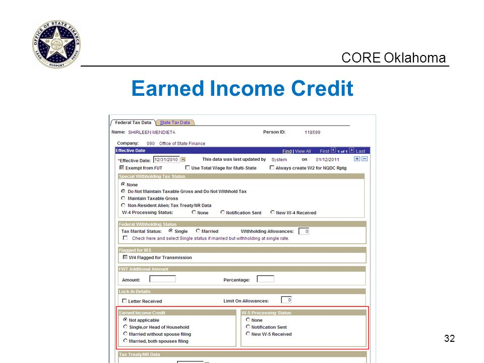 CORE Oklahoma Earned Income Credit __________________________________________________ 32