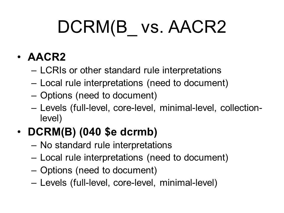 DCRM(B_ vs.