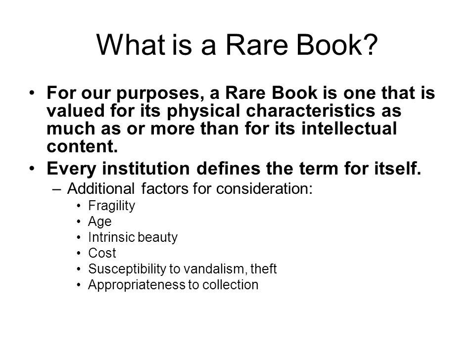 What is a Rare Book.
