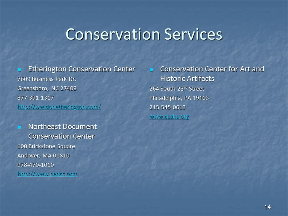 Conservation Services Etherington Conservation Center Etherington Conservation Center 7609 Business Park Dr. Greensboro, NC 27409 877-391-1317 http://
