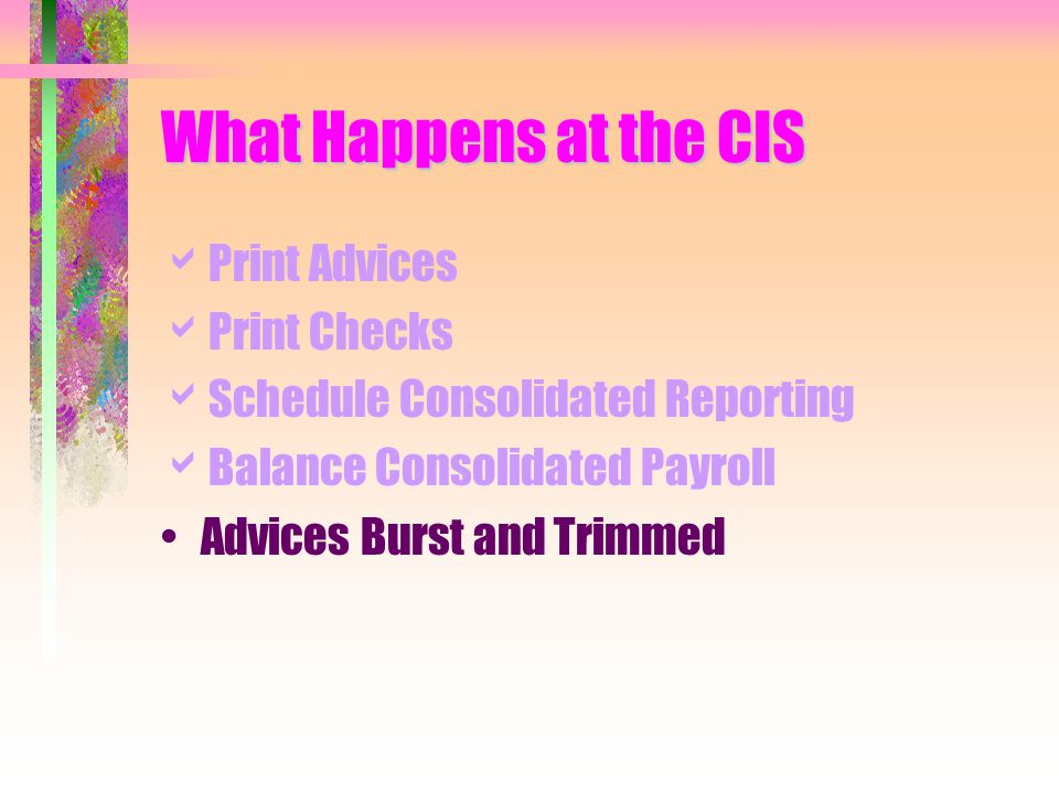What Happens at the CIS  Print Advices  Print Checks  Schedule Consolidated Reporting  Balance Consolidated Payroll Advices Burst and Trimmed