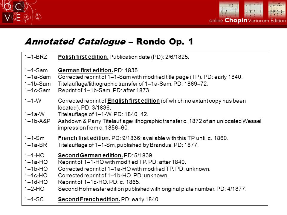 Annotated Catalogue – Rondo Op. 1 1–1-BRZPolish first edition. Publication date (PD): 2/6/1825. 1–1-SamGerman first edition. PD: 1835. 1–1a-SamCorrect