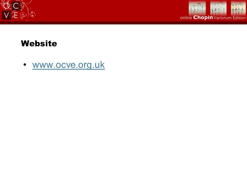 Website www.ocve.org.uk
