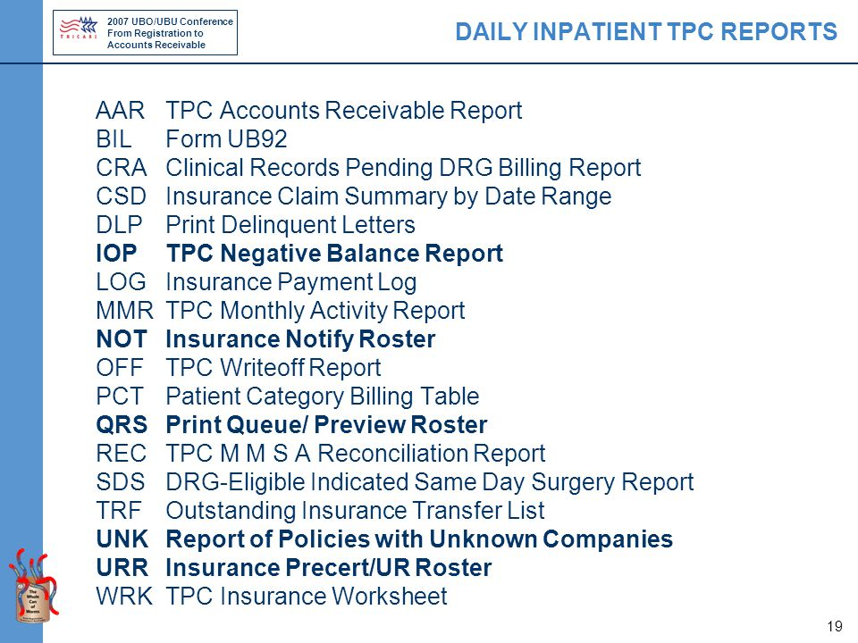 2007 UBO/UBU Conference From Registration to Accounts Receivable 19 DAILY INPATIENT TPC REPORTS AARTPC Accounts Receivable Report BILForm UB92 CRAClinical Records Pending DRG Billing Report CSDInsurance Claim Summary by Date Range DLPPrint Delinquent Letters IOPTPC Negative Balance Report LOGInsurance Payment Log MMRTPC Monthly Activity Report NOTInsurance Notify Roster OFFTPC Writeoff Report PCTPatient Category Billing Table QRSPrint Queue/ Preview Roster RECTPC M M S A Reconciliation Report SDSDRG-Eligible Indicated Same Day Surgery Report TRFOutstanding Insurance Transfer List UNKReport of Policies with Unknown Companies URRInsurance Precert/UR Roster WRKTPC Insurance Worksheet