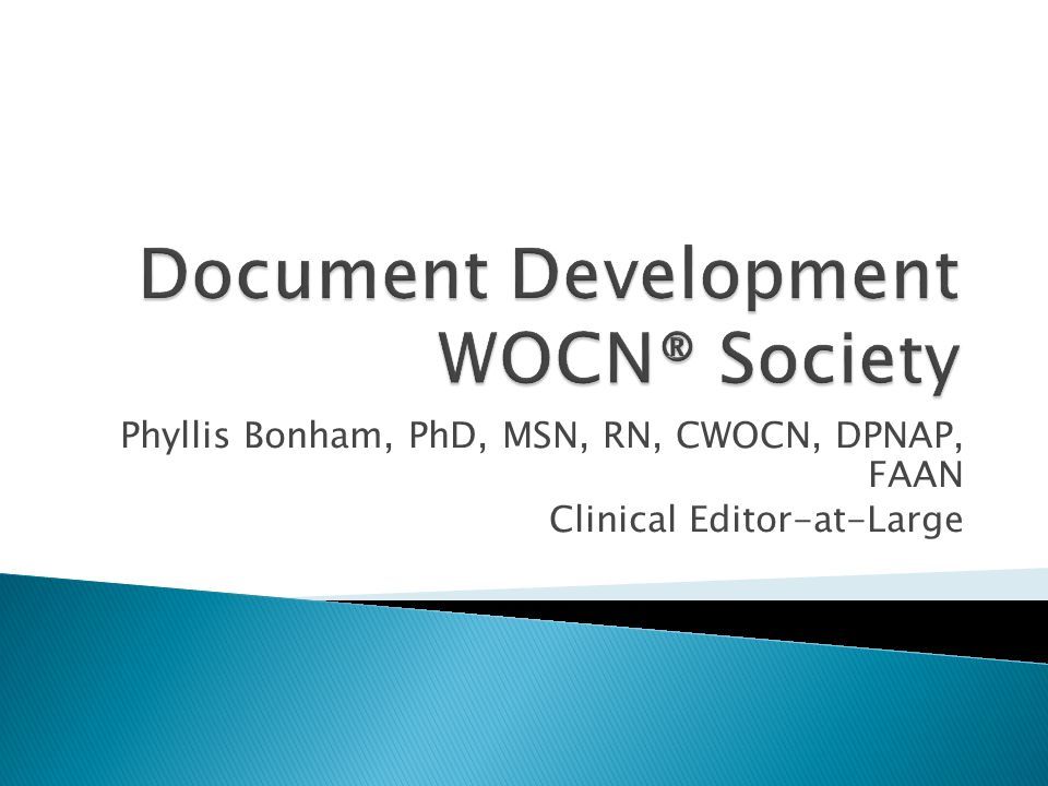 Welcome  Purpose of call Review WOCN® Society document development by committees/task forces Review new role for Society: Clinical Editor-at-Large  Background