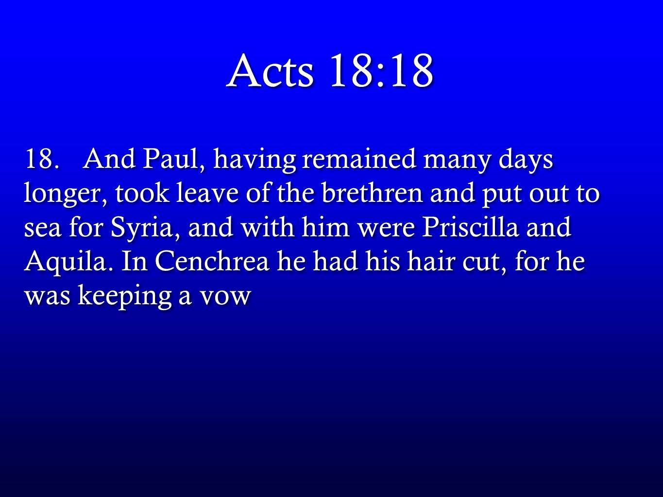 Acts 18:18 18.