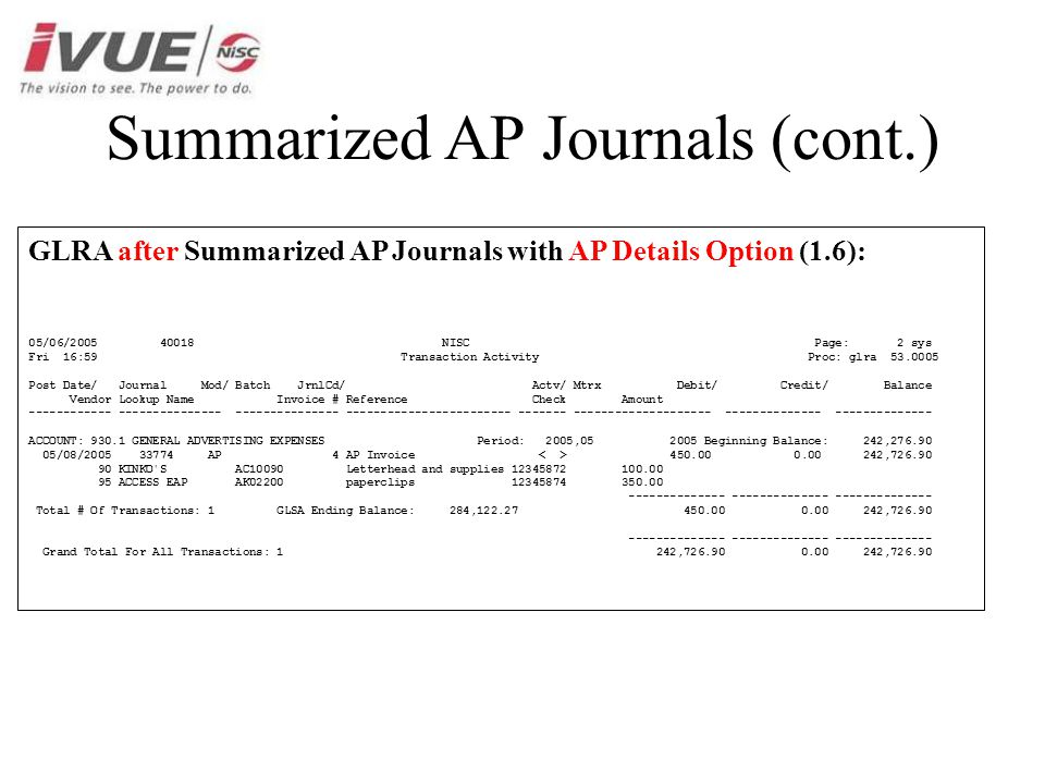 Summarized AP Journals (cont.) GLRA after Summarized AP Journals with AP Details Option (1.6): 05/06/2005 40018 NISC Page: 2 sys Fri 16:59 Transaction Activity Proc: glra 53.0005 Post Date/ Journal Mod/ Batch JrnlCd/ Actv/ Mtrx Debit/ Credit/ Balance Vendor Lookup Name Invoice # Reference Check Amount ------------ --------------- --------------- ------------------------ ------- -------------------- -------------- -------------- ACCOUNT: 930.1 GENERAL ADVERTISING EXPENSES Period: 2005,05 2005 Beginning Balance: 242,276.90 05/08/2005 33774 AP 4 AP Invoice 450.00 0.00 242,726.90 90 KINKO S AC10090 Letterhead and supplies 12345872 100.00 95 ACCESS EAP AK02200 paperclips 12345874 350.00 -------------- -------------- -------------- Total # Of Transactions: 1 GLSA Ending Balance: 284,122.27 450.00 0.00 242,726.90 -------------- -------------- -------------- Grand Total For All Transactions: 1 242,726.90 0.00 242,726.90