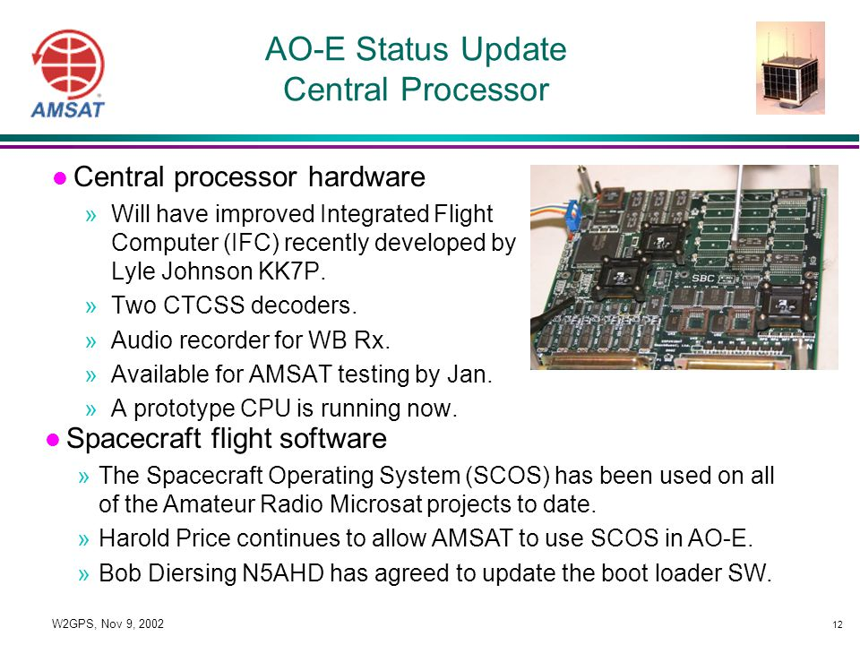 12 W2GPS, Nov 9, 2002 AO-E Status Update Central Processor l Central processor hardware »Will have improved Integrated Flight Computer (IFC) recently developed by Lyle Johnson KK7P.