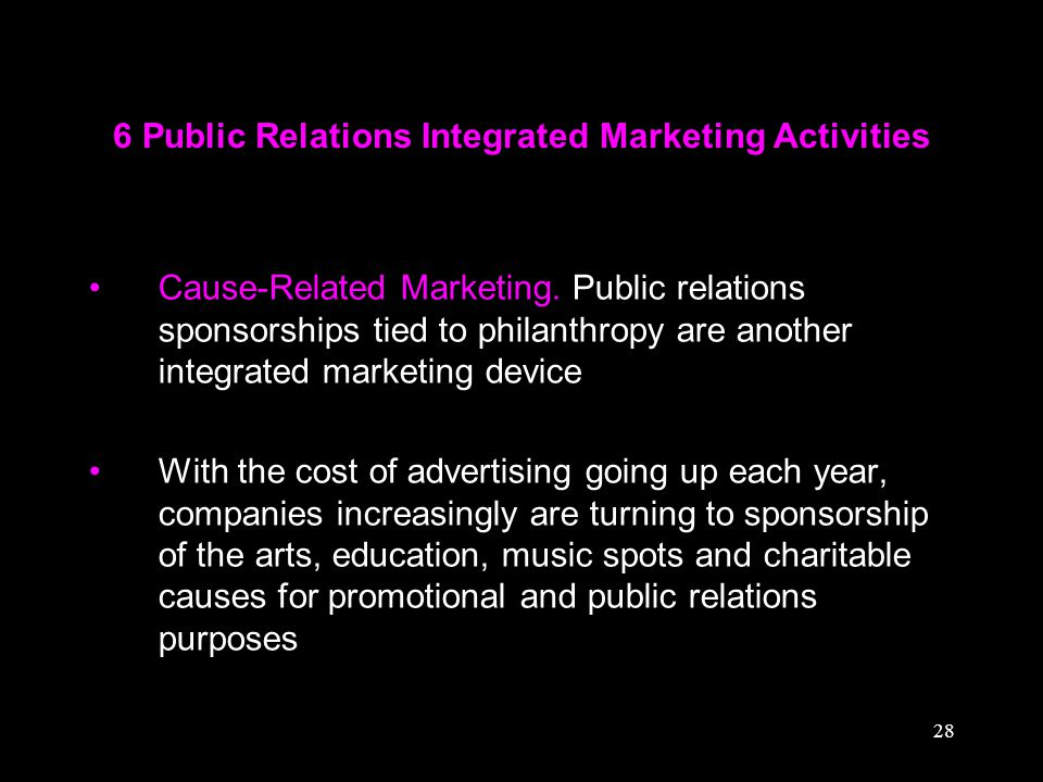 28 6 Public Relations Integrated Marketing Activities Cause-Related Marketing. Public relations sponsorships tied to philanthropy are another integrat