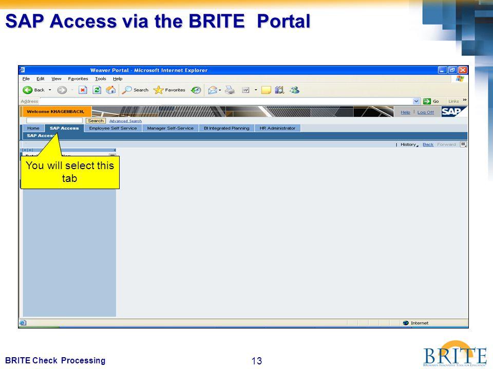 13 BRITE Check Processing SAP Access via the BRITE Portal You will select this tab