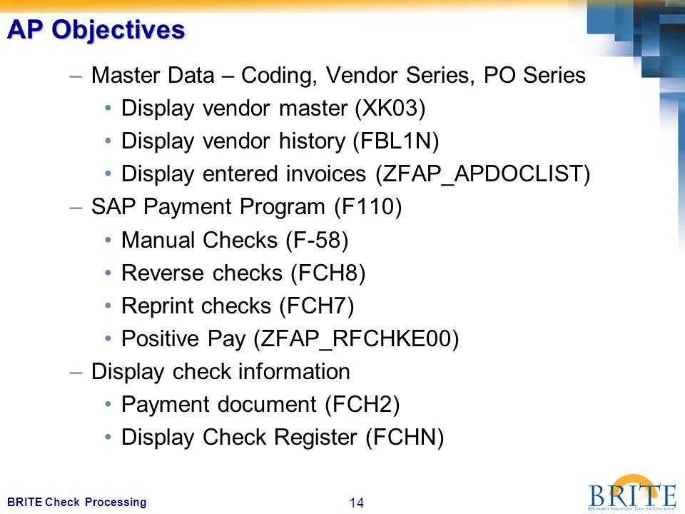 14 BRITE Check Processing AP Objectives –Master Data – Coding, Vendor Series, PO Series Display vendor master (XK03) Display vendor history (FBL1N) Display entered invoices (ZFAP_APDOCLIST) –SAP Payment Program (F110) Manual Checks (F-58) Reverse checks (FCH8) Reprint checks (FCH7) Positive Pay (ZFAP_RFCHKE00) –Display check information Payment document (FCH2) Display Check Register (FCHN)