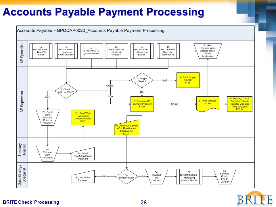 28 BRITE Check Processing Accounts Payable Payment Processing