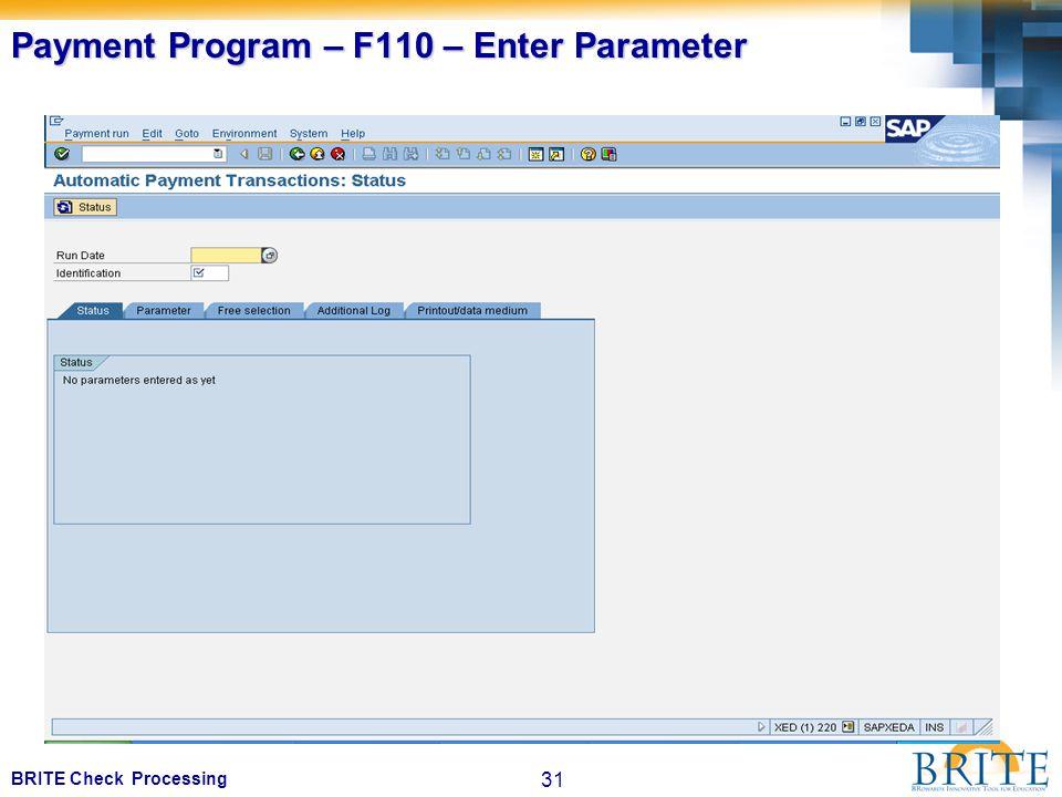 31 BRITE Check Processing Payment Program – F110 – Enter Parameter