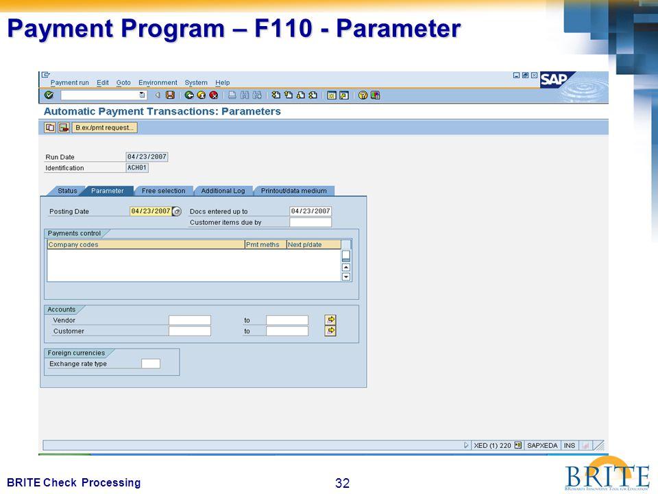 32 BRITE Check Processing Payment Program – F110 - Parameter