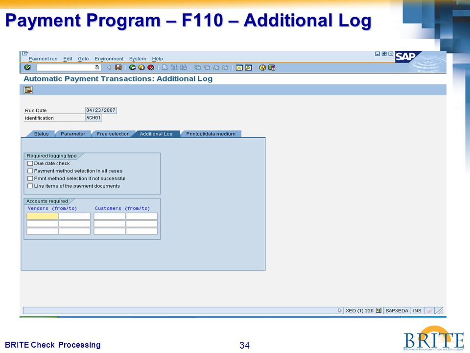 34 BRITE Check Processing Payment Program – F110 – Additional Log