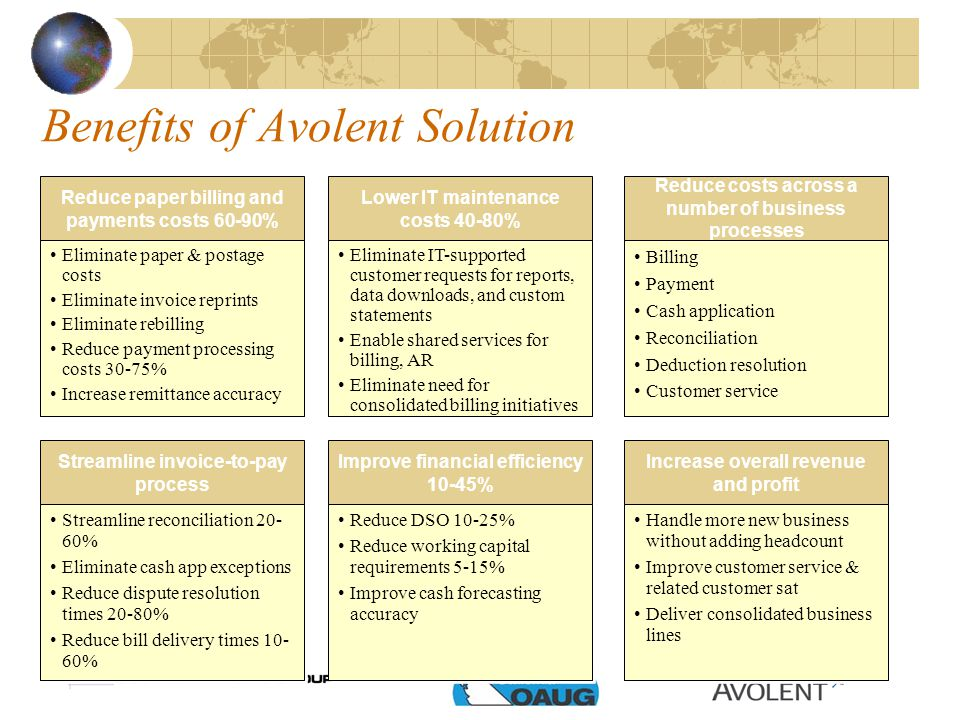 Benefits of Avolent Solution Reduce paper billing and payments costs 60-90% Lower IT maintenance costs 40-80% Reduce costs across a number of business processes Increase overall revenue and profit Improve financial efficiency 10-45% Streamline invoice-to-pay process Eliminate paper & postage costs Eliminate invoice reprints Eliminate rebilling Reduce payment processing costs 30-75% Increase remittance accuracy Eliminate paper & postage costs Eliminate invoice reprints Eliminate rebilling Reduce payment processing costs 30-75% Increase remittance accuracy Eliminate IT-supported customer requests for reports, data downloads, and custom statements Enable shared services for billing, AR Eliminate need for consolidated billing initiatives Eliminate IT-supported customer requests for reports, data downloads, and custom statements Enable shared services for billing, AR Eliminate need for consolidated billing initiatives Billing Payment Cash application Reconciliation Deduction resolution Customer service Billing Payment Cash application Reconciliation Deduction resolution Customer service Handle more new business without adding headcount Improve customer service & related customer sat Deliver consolidated business lines Handle more new business without adding headcount Improve customer service & related customer sat Deliver consolidated business lines Reduce DSO 10-25% Reduce working capital requirements 5-15% Improve cash forecasting accuracy Reduce DSO 10-25% Reduce working capital requirements 5-15% Improve cash forecasting accuracy Streamline reconciliation 20- 60% Eliminate cash app exceptions Reduce dispute resolution times 20-80% Reduce bill delivery times 10- 60% Streamline reconciliation 20- 60% Eliminate cash app exceptions Reduce dispute resolution times 20-80% Reduce bill delivery times 10- 60%