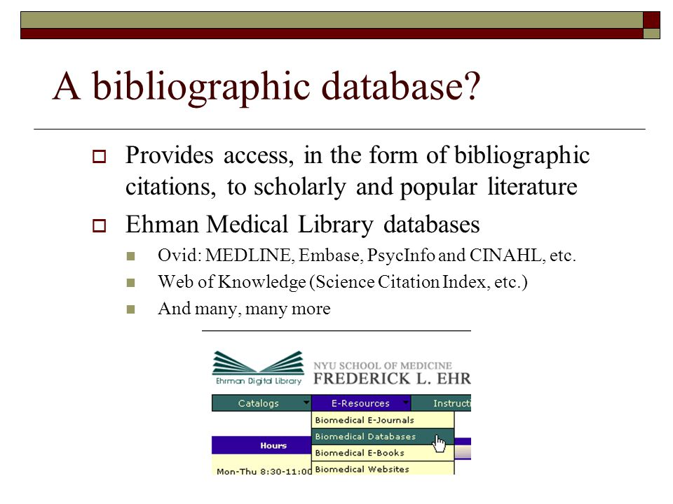 A bibliographic database.
