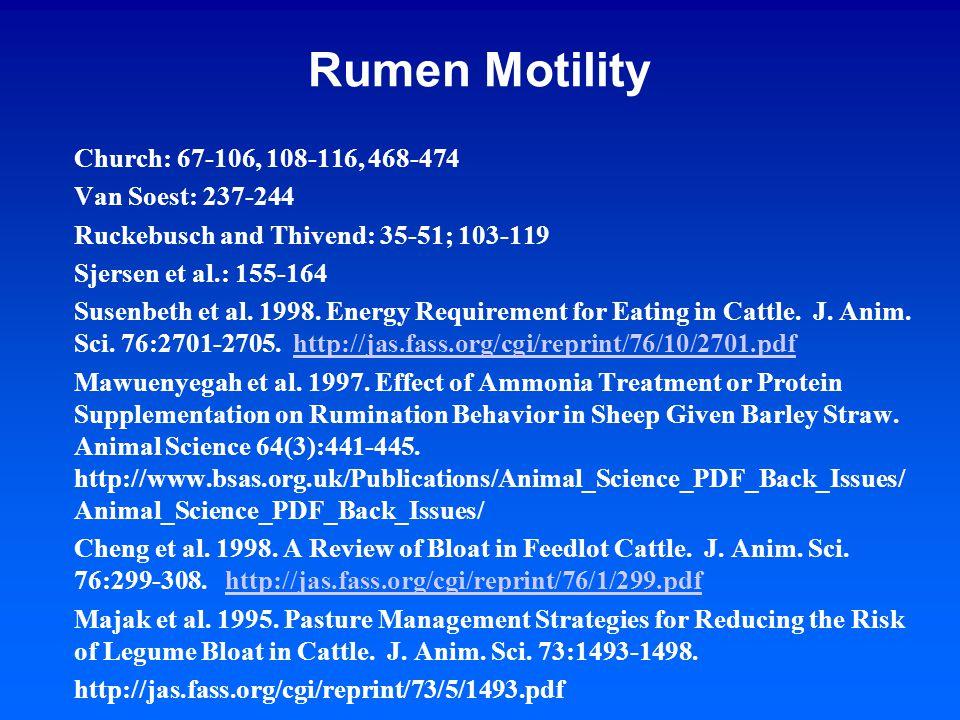 Rumen Motility Church: 67-106, 108-116, 468-474 Van Soest: 237-244 Ruckebusch and Thivend: 35-51; 103-119 Sjersen et al.: 155-164 Susenbeth et al.