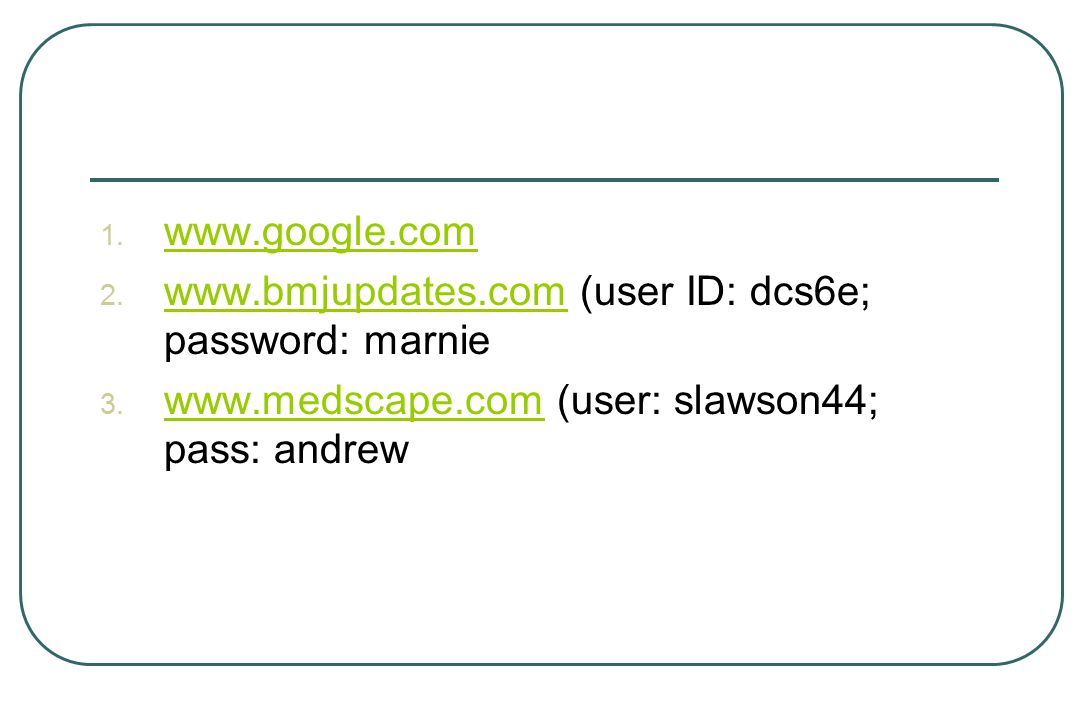 1. www.google.com www.google.com 2.