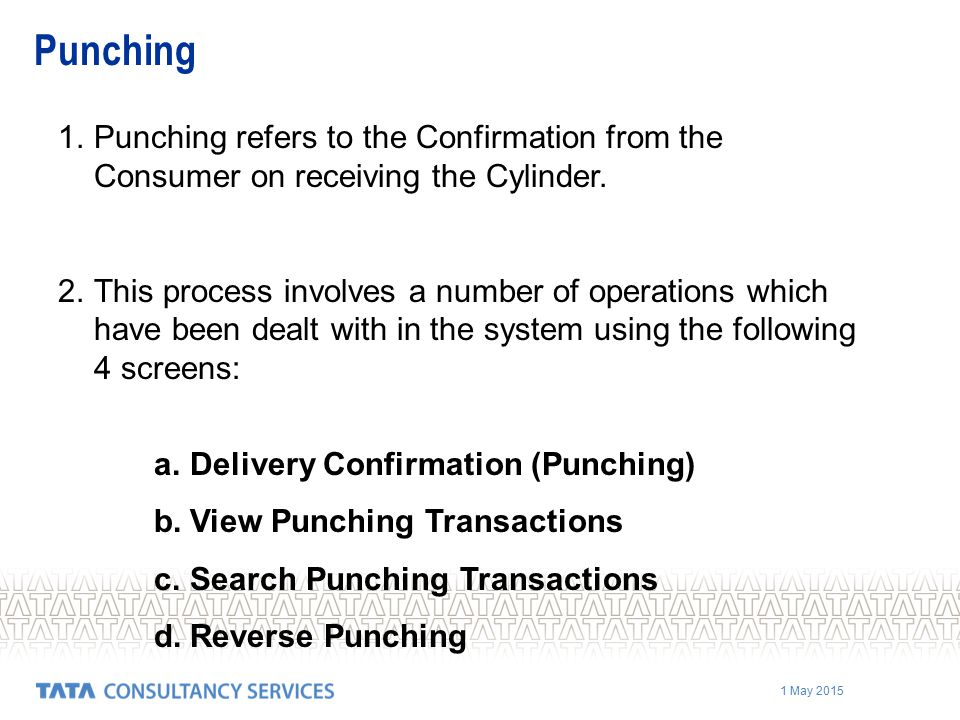 1 May 2015 1.Punching refers to the Confirmation from the Consumer on receiving the Cylinder.