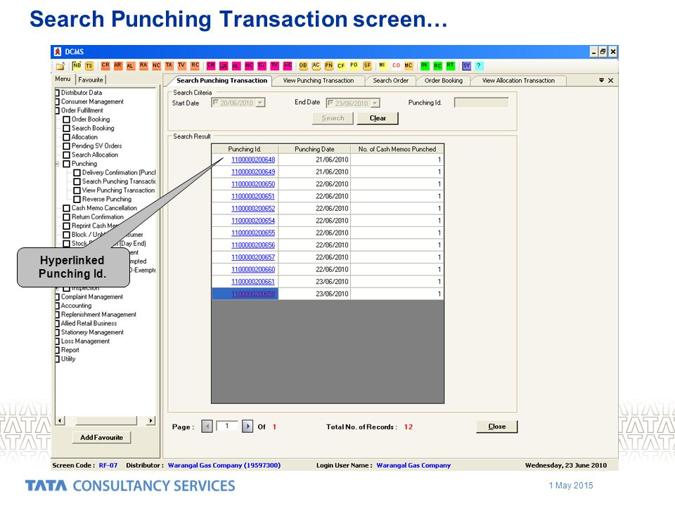 1 May 2015 Hyperlinked Punching Id. Search Punching Transaction screen…