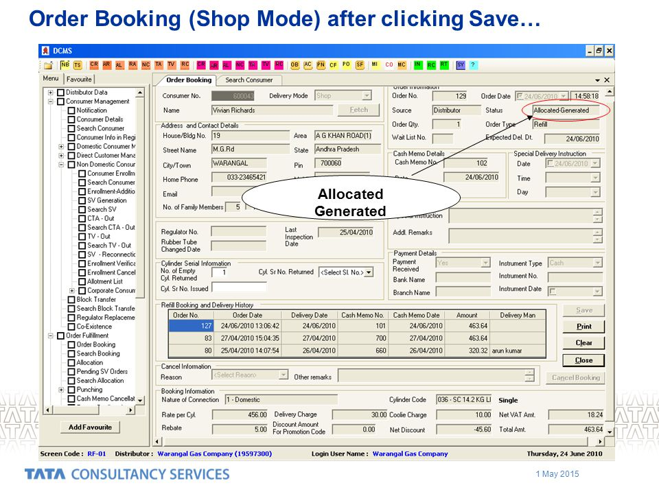 1 May 2015 Order Booking (Shop Mode) after clicking Save… Allocated Generated