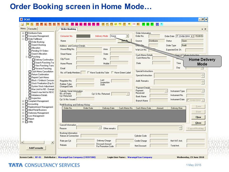 1 May 2015 Order Booking screen in Home Mode… Home Delivery Mode