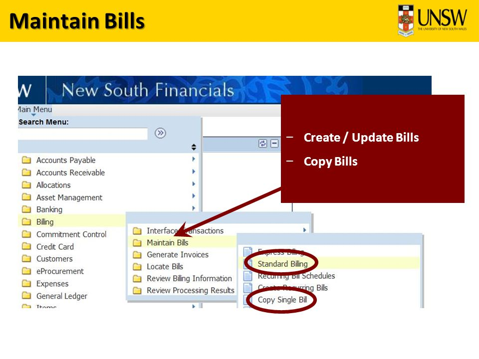 Maintain Bills – Create / Update Bills – Copy Bills