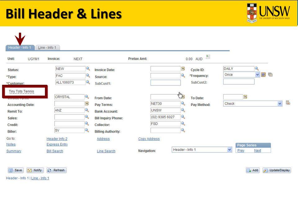 Bill Header & Lines