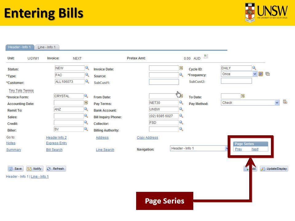 Entering Bills Page Series