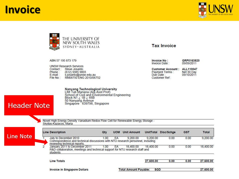 Invoice Header Note Line Note