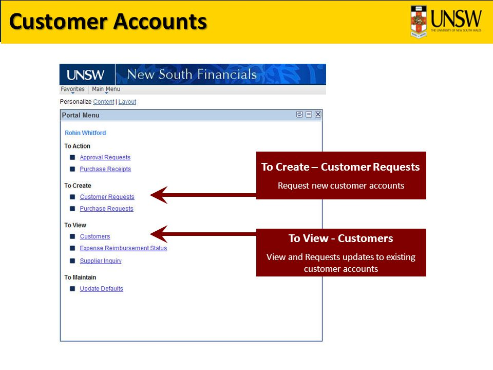 Customer Accounts To Create – Customer Requests Request new customer accounts To View - Customers View and Requests updates to existing customer accounts