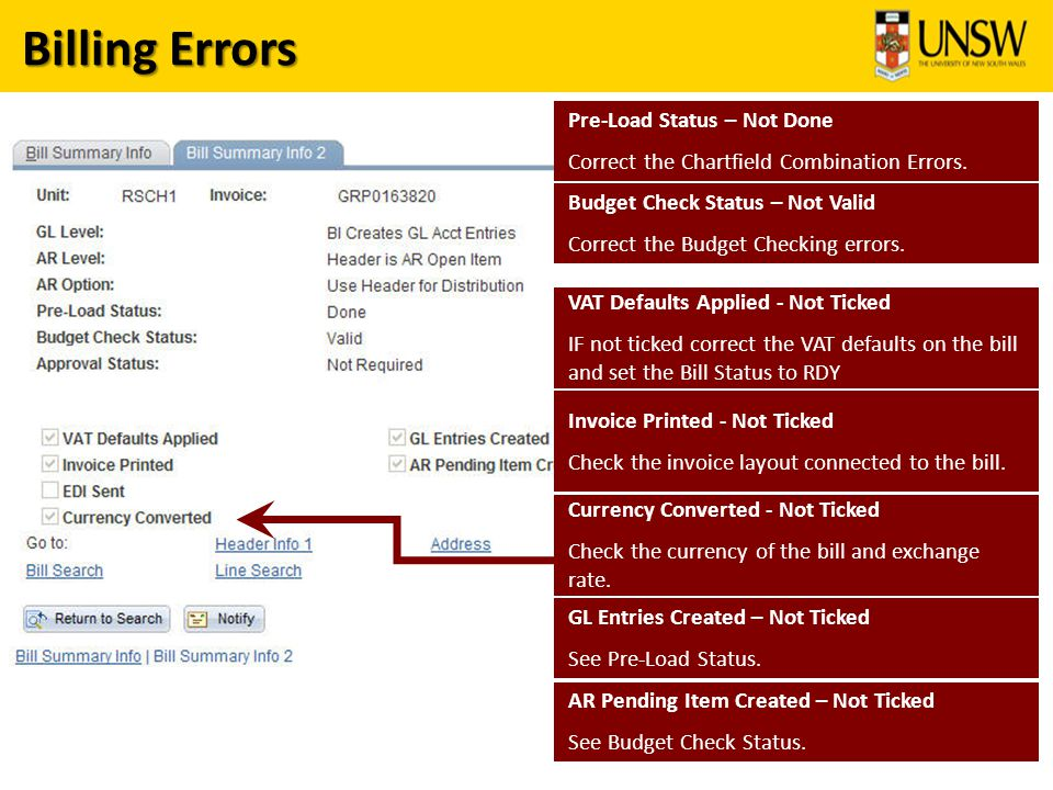 Billing Errors AR Pending Item Created – Not Ticked See Budget Check Status.