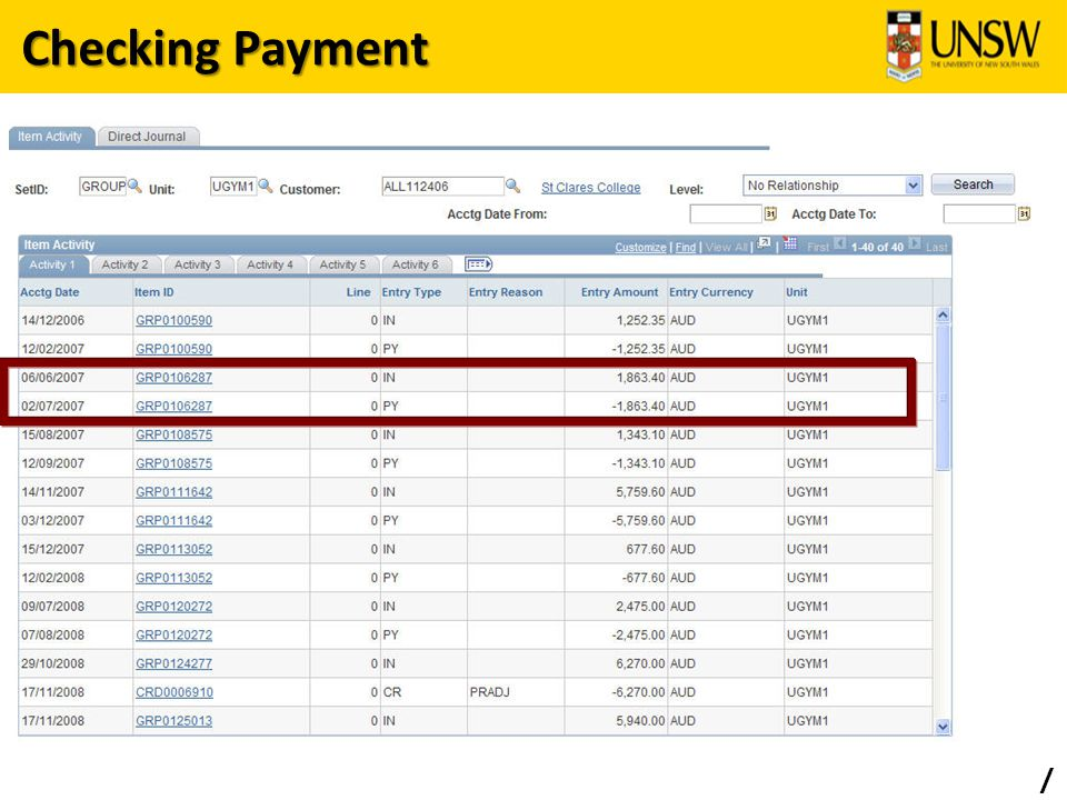 Checking Payment /