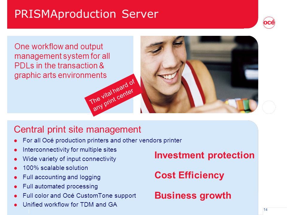 14 PRISMAproduction Server Central print site management l For all Océ production printers and other vendors printer l Interconnectivity for multiple